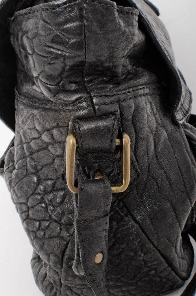 PEBBLED LEATHER FLAP BAG