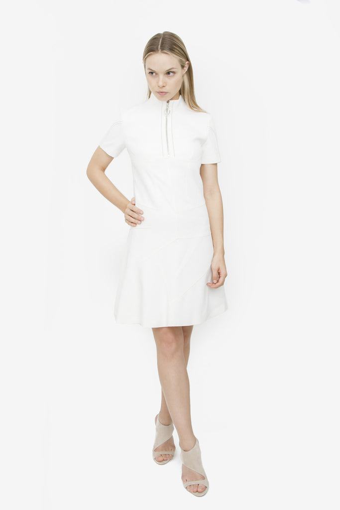 WHITE ZIP DRESS