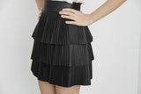 TIERED LEATHER SKIRT