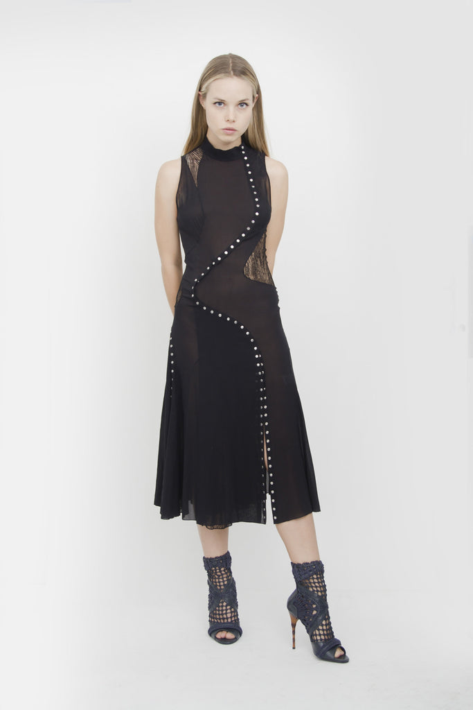 STUDDED PATCHWORK DRESS