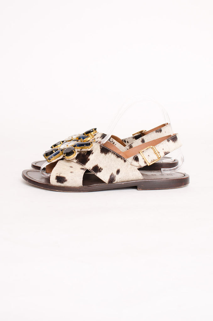 PONYHAIR GEMSTONE SANDALS