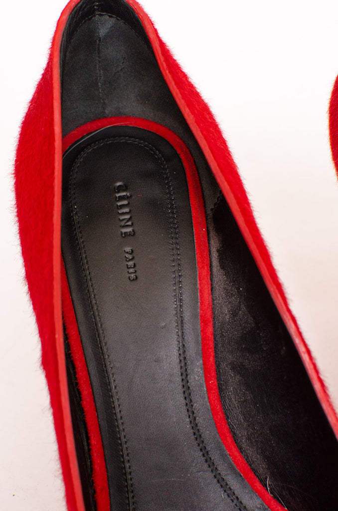 RED PONYHAIR PUMPS