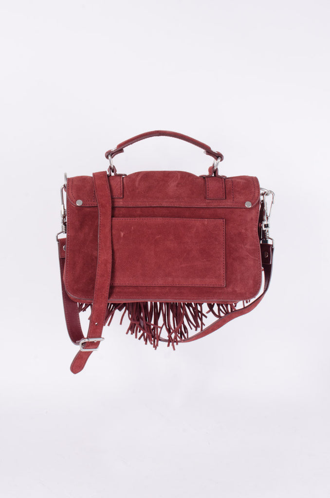 PS1 RED SUEDE FRINGE PURSE