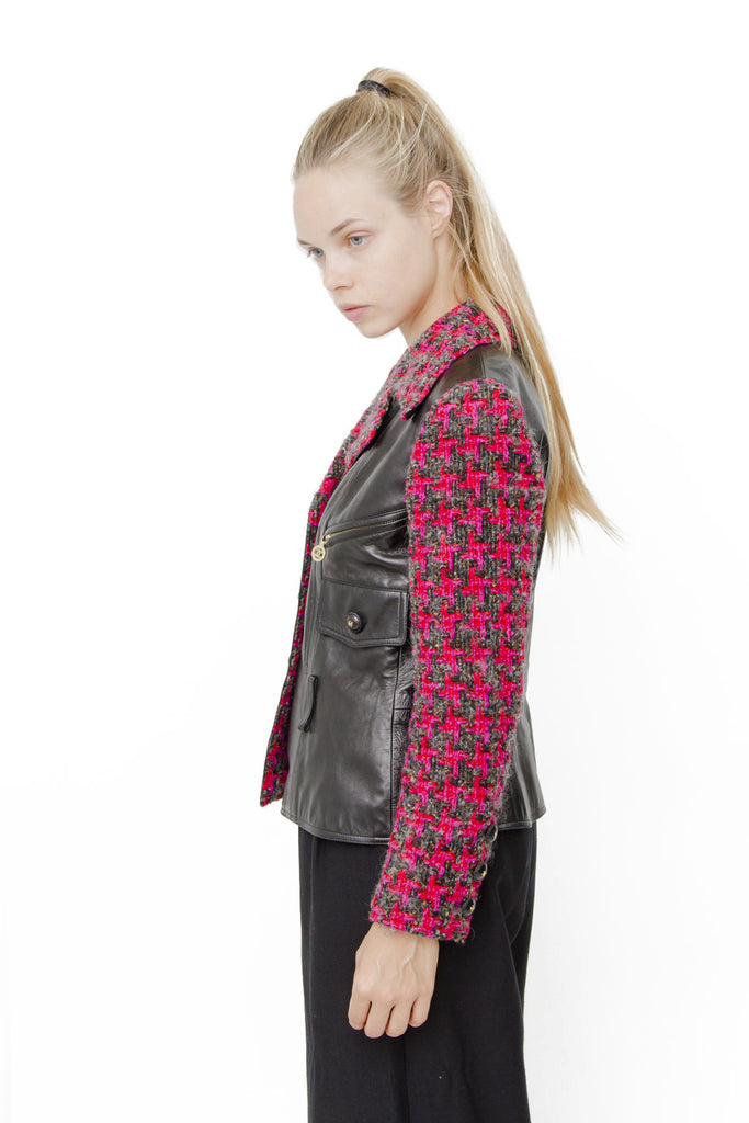 LEATHER AND TWEED MOTO JACKET