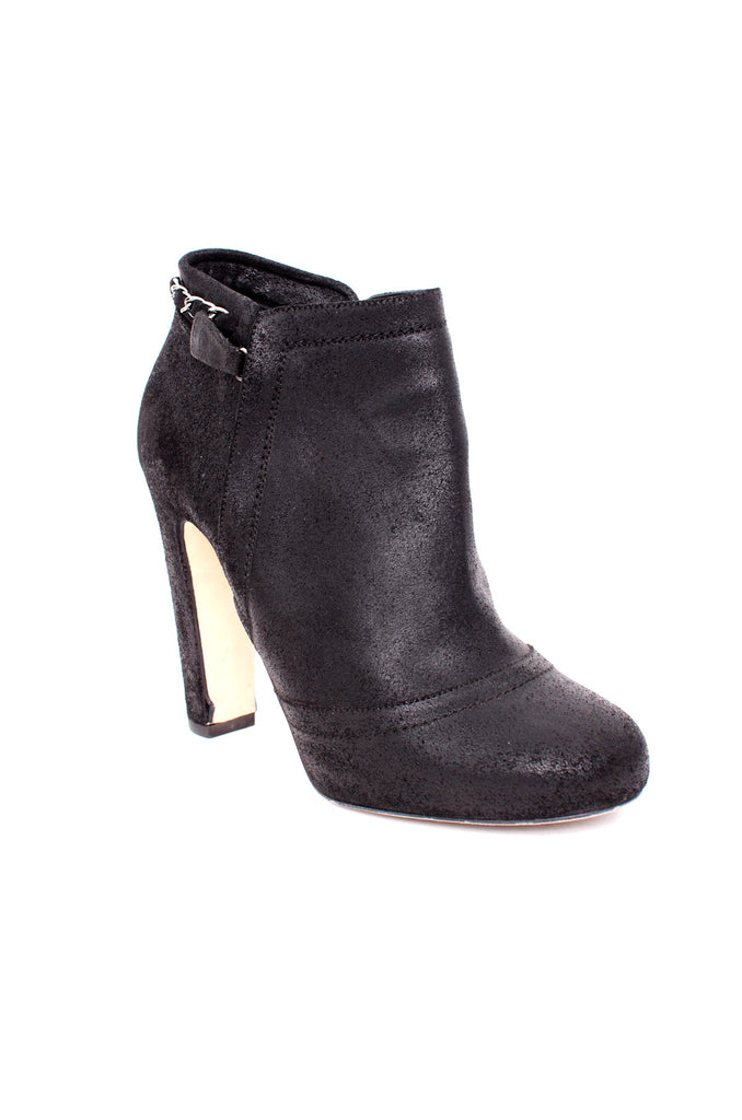 WAXED BLACK ANKLE BOOTIES