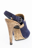SNAKESKIN TRIM SLINGBACKS