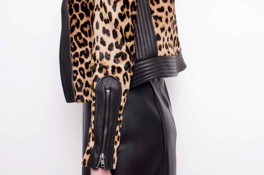 PONYHAIR LEOPARD PRINT JACKET WITH TAGS