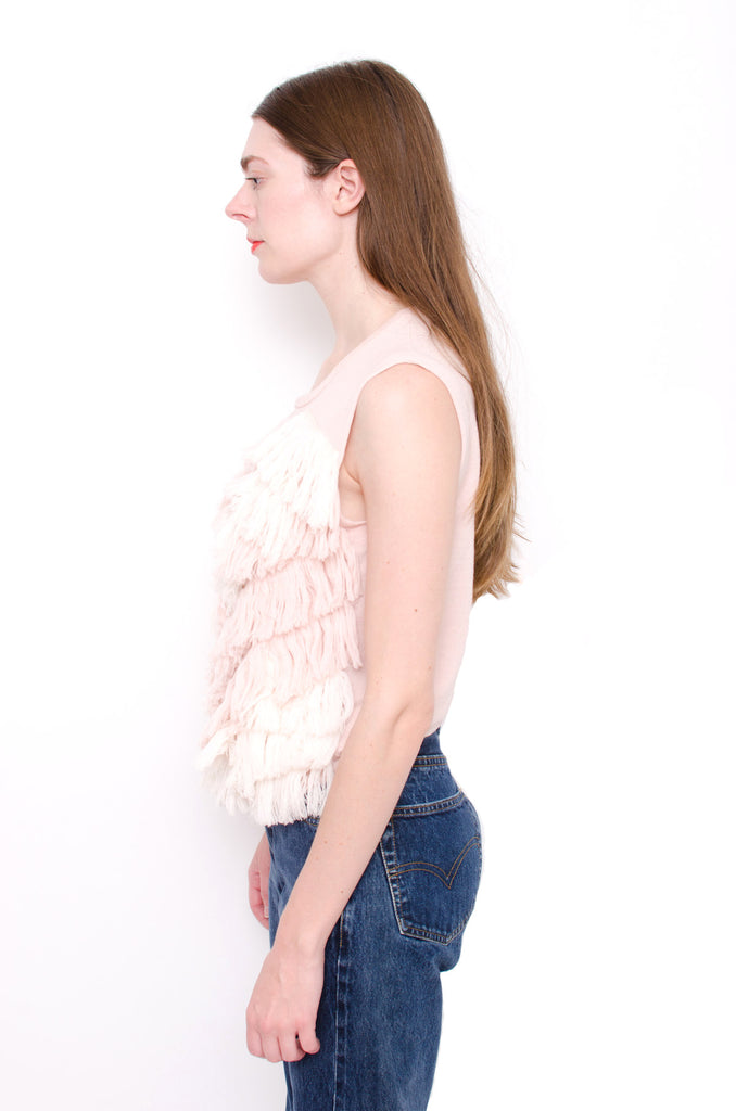 FRINGE KNIT TOP WITH TAGS