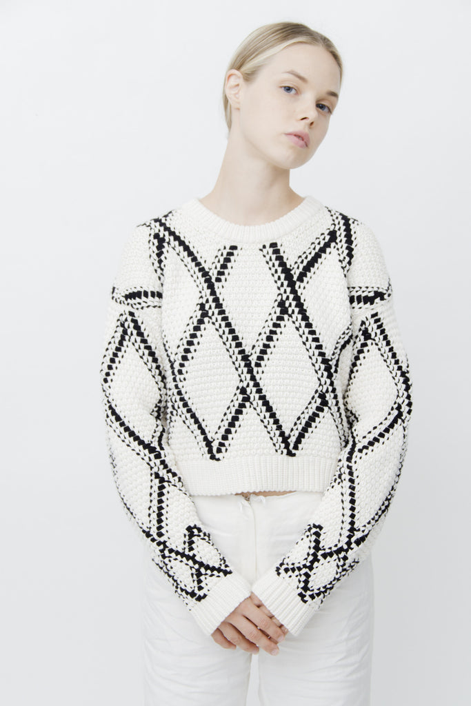 GRID CROPPED KNIT SWEATER