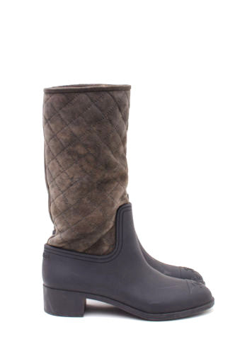 BROWN GRAY QUILTED BOOTS