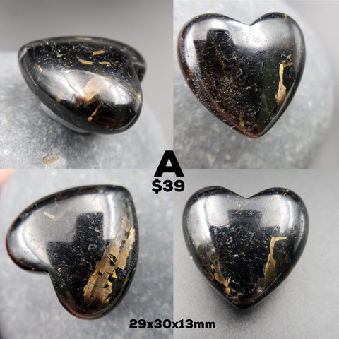 Reserved - Genuine Nuummite Heart Palm Stone