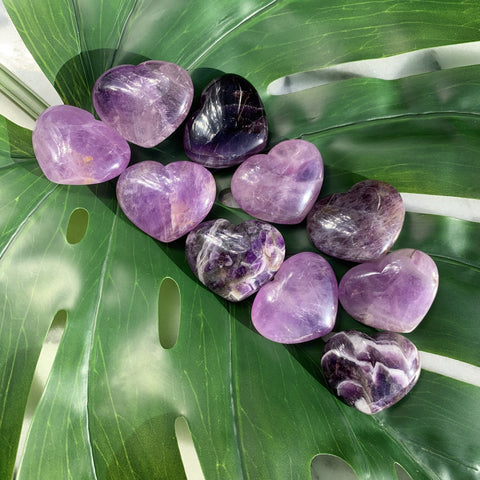 Amethyst Heart Palm Stone