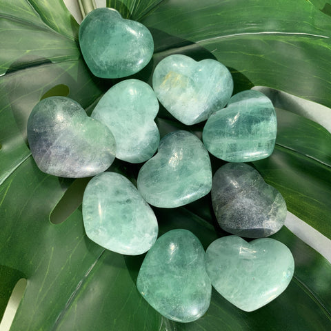 Green Fluorite Heart Palm Stone