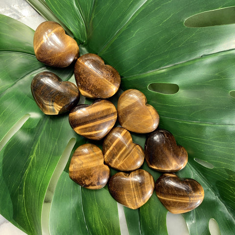 Tigers Eye Heart Palm Stone