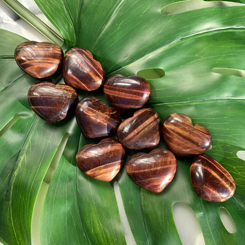 Red Tiger Eye Heart Palm Stone