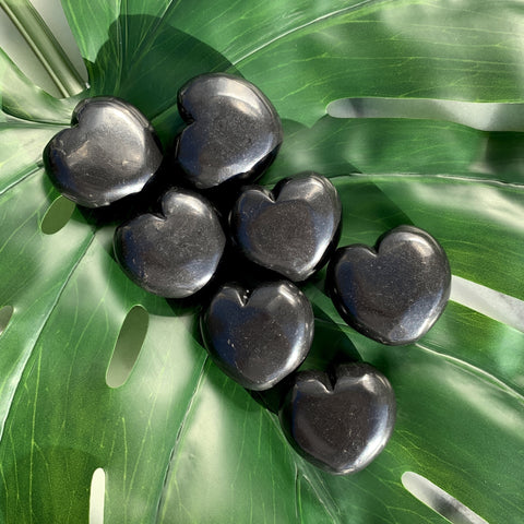 Shungite Heart Palm Stone