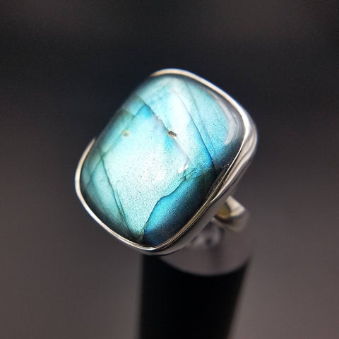 Flashy Aqua Labradorite Adjustable Ring