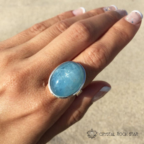 Aquamarine Statement Ring - Size 6.5