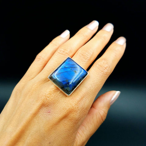 Blue Labradorite Ring - Size 7.5