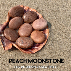 Chai Moonstone Palm Stone - Peach Meditation Crystal