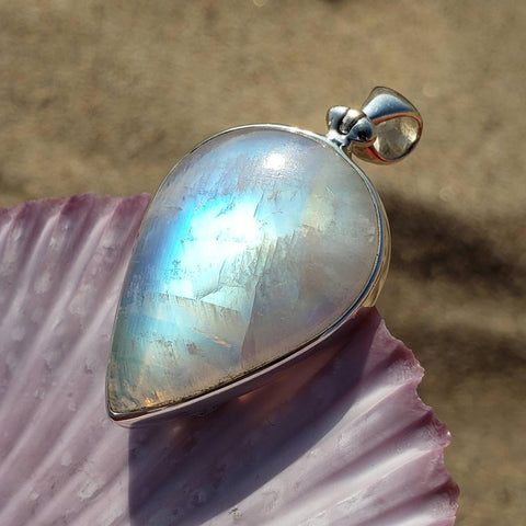 Rainbow Moonstone Moon Lover Silver Pendant