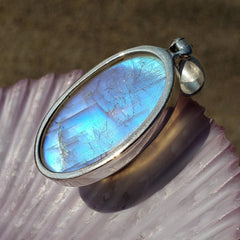 Blue Glow Moonstone Oval Sterling Silver Pendant