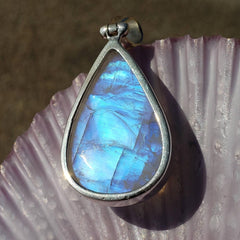 Blue Moonstone Crystal Teardrop Silver Pendant