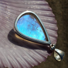 Ethereal Blue Moonstone Silver Pendant