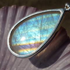 Rainbow Moonstone Purple Stripe Silver Pendant