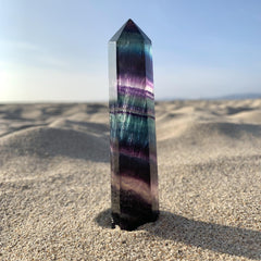 "Rainbow Fluorite Wand Point 4"" Standing Crystal"