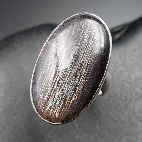 Sunstone Rainbow Meteor Shower Adjustable Ring