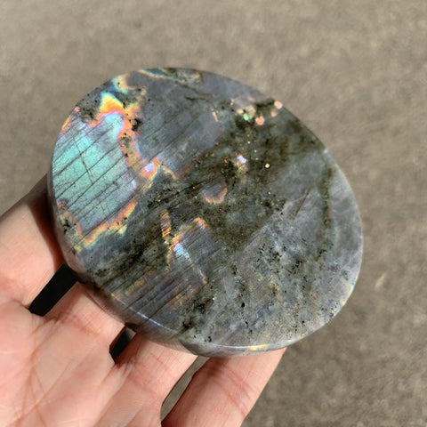 Rainbow Labradorite Crystal Decor Coaster