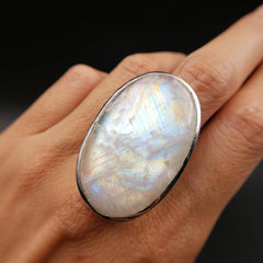 Rainbow Moonstone Silver Ring Size 10 Adjustable