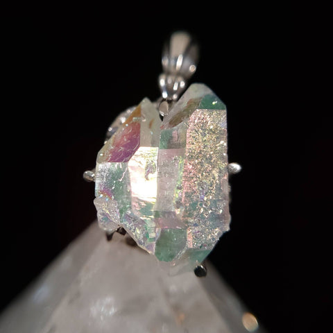 Rainbow Aura Quartz Twin Crystal Pendant