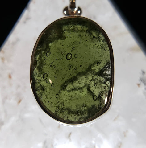 Genuine Moldavite Silver Pendant with Bubbles