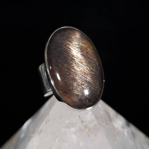 Sunstone Rainbow Meteor Shower Silver Ring