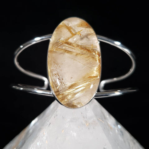 Gold Rutilated Quartz Adjustable Cuff Bracelet
