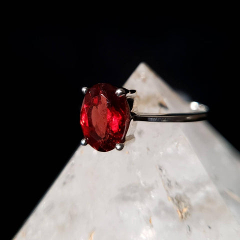 Garnet Oval Solitaire Silver Ring Size 6