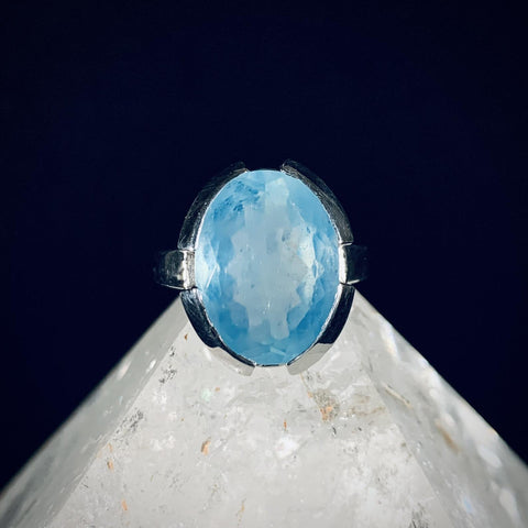 Aquamarine Statement Silver Ring - Size 7.5