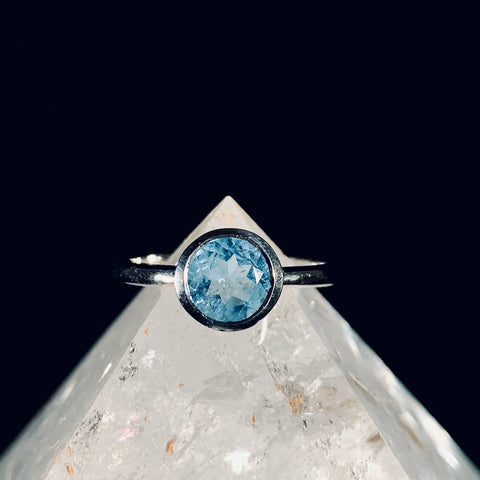 Aquamarine Solitaire Silver Ring - Size 8.5