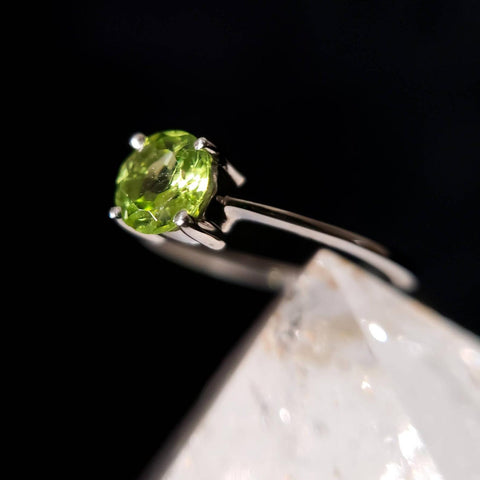 Peridot Gemstone Solitaire Sterling Silver Ring