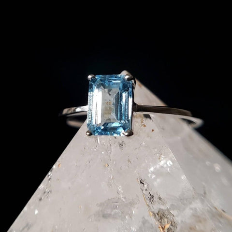Blue Topaz Emerald Solitaire Ring Size 6 & 7