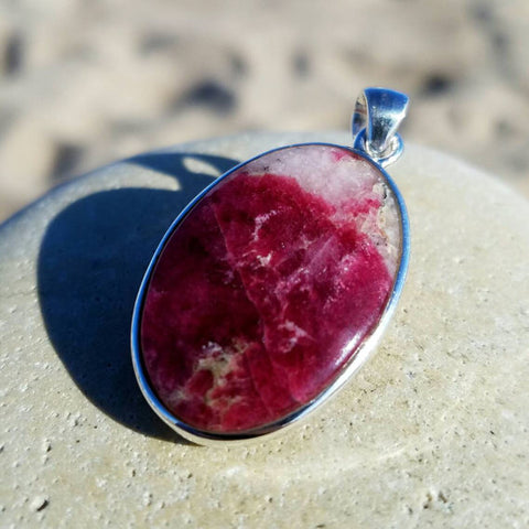 Tugtupite Sterling Silver Pendant