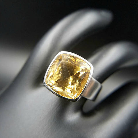 Citrine Solitaire Adjustable Ring