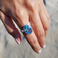 Blue Topaz Solitaire Adjustable Ring