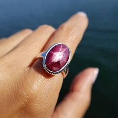 Star Ruby Pyramid Ring Size 8