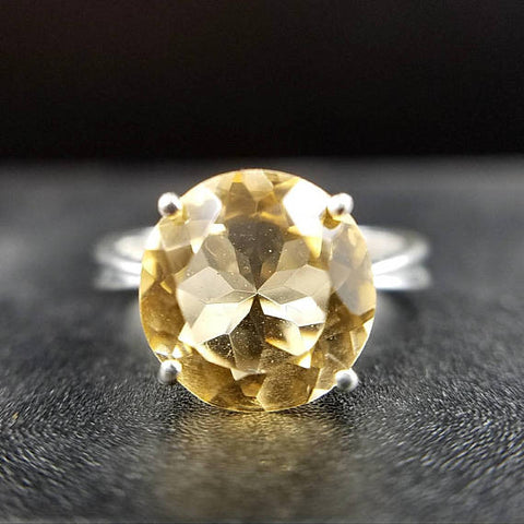 Citrine Solitaire Sterling Silver Ring