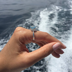 Blue Topaz Solitaire Size 10 Ring