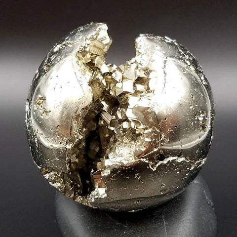 "Pyrite Pacman Sphere 3"" Premium Crystal Ball Emoji Face"