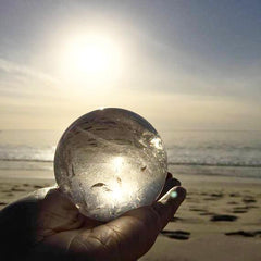 "Clear Quartz 3"" Sphere with Seashell Stand"